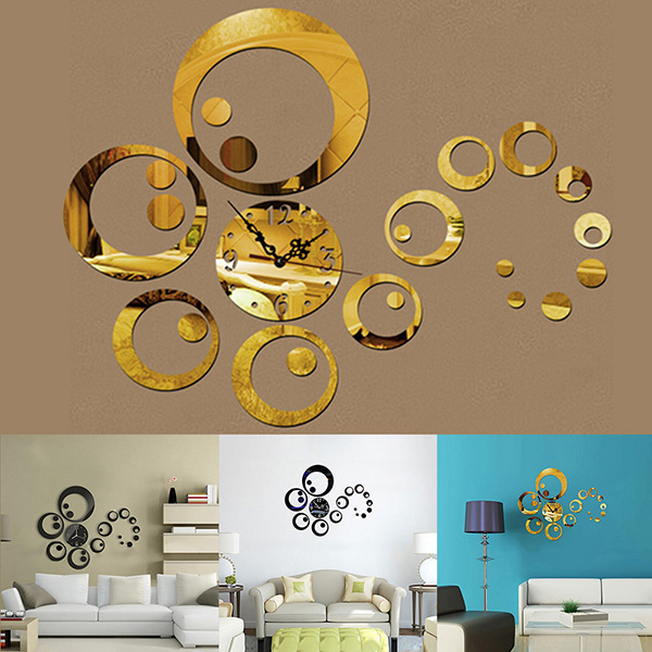 diy 3d modern acrylic mirror wall sticker clock home living room