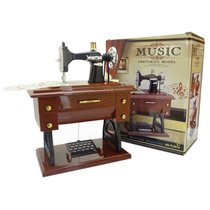 Musical Sewing Machine Music Box Vintage Look Retro Classical Desk Gorgeous Musical Sewing Machine Music Box Vintage Look